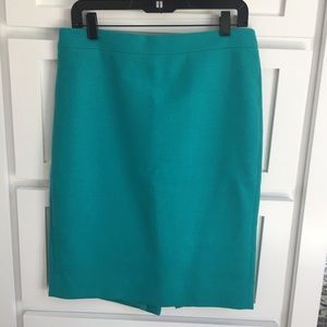J. Crew No. 2 Double Surge Teal Wool Pencil Skirt